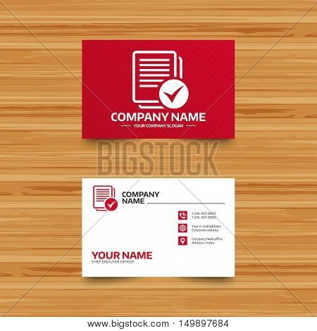 Business card template. Text file sign icon. Check File document symbol. Phone, globe and pointer icons. Visiting card design. Vector