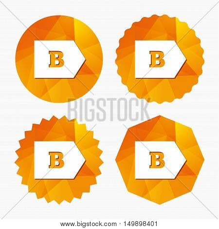 Energy efficiency class B sign icon. Energy consumption symbol. Triangular low poly buttons with flat icon. Vector