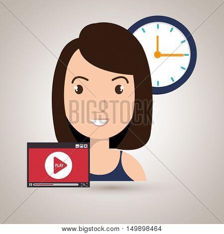 woman cartoon video record clock vector illustration eps 10