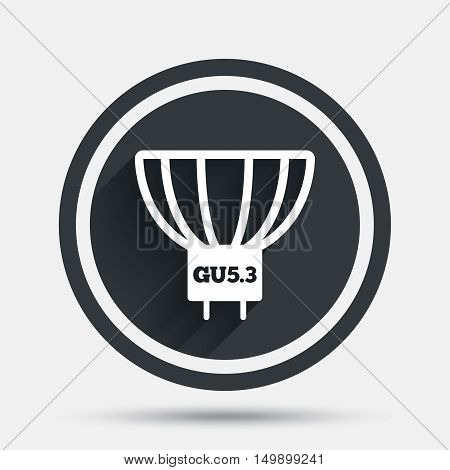 Light bulb icon. Lamp GU5.3 socket symbol. Led or halogen light sign. Circle flat button with shadow and border. Vector