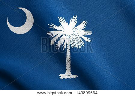 South Carolinian official flag symbol. American patriotic element. USA banner. United States of America background. Flag of the US state of South Carolina waving in wind with detailed fabric texture, illustration