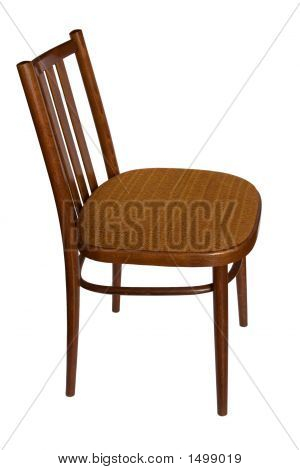 Ordinary Chair Isilated On White, Side View.