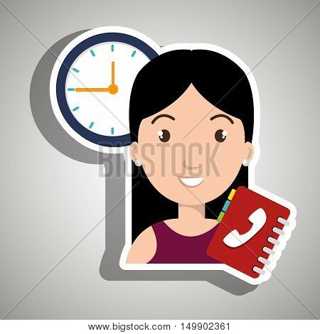 woman directory telephone clock vector illustration eps 10