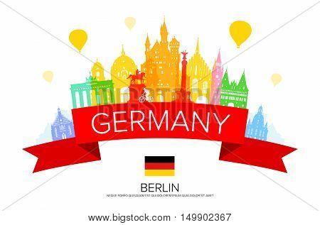 Germany Berlin travel landmark. Vector and Illustration
