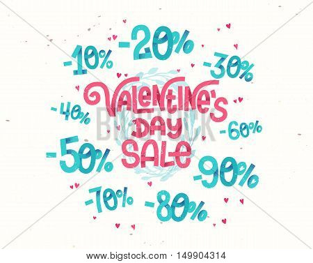 Valentine's Day Sale, Discount Percentages In Cute Girly Cartoon Style Numbers For Sales Promotions