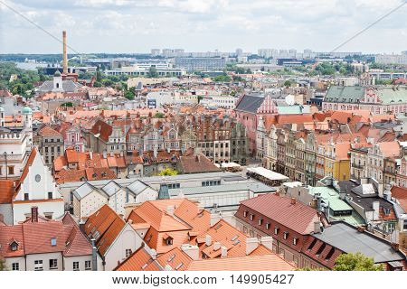 Poznan, Poland - June 28, 2016: City Market, Old And Modern Buildings In Polish Town Poznan
