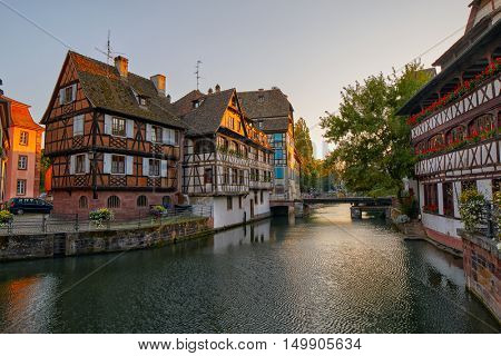 Traditional Half-timbered houses in Strasbourg Petite France district
