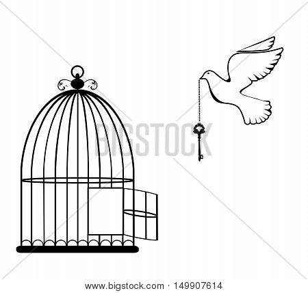 vector illustration of a bird cage open with dove and key