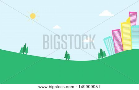 Urban in hill scenery of silhouette vector illustration