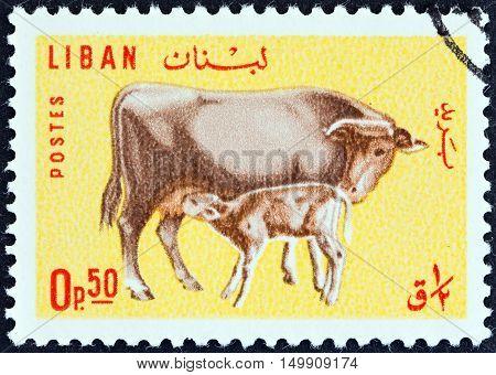 LEBANON - CIRCA 1965: A stamp printed in Lebanon shows Cow and calf, circa 1965.