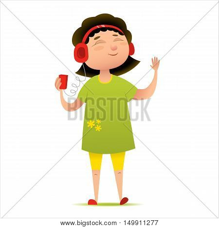Happy young girl listening to music on her smart phone or player. Cartoon character, mascot