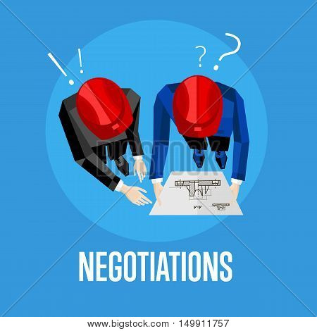 Negotiation banner, vector illustration. Top view of construction professionals discussing details of project over drawing. Two engineer builders in red safety helmet with blueprint on blue background