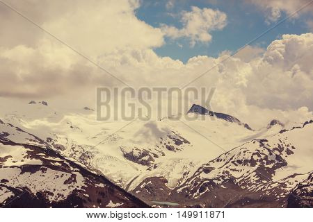 Picturesque mountain view in the Canadian Rockies in summer season