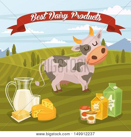 Cartoon cow. Farm products banner with dairy product on rustic background of green rural landscape vector illustration. Dairy farm food. Healthy nutritious food concept. Rustic dairy food. Organic product. Dairy concept. Milk product. Farm cow.