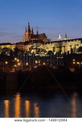 Evening landscape with Prague Castle (Prazsky Hrad) and Vltava river in Prague Czech Republic.