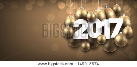 2017 New Year golden banner with Christmas balls. Vector illustration.