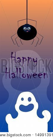 Vertical vector illustration for Halloween with spider and ghost. Creepy and lovely cartoon characters image. Halloween template for web banner bookmark paper decor. Black spider. Transparent ghost