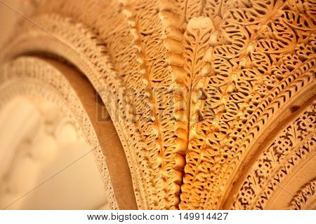 Intricate design on the walls of Paigah tombs in Hyderabad, India