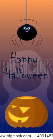 Halloween illustration with pumpkin and spider. Creepy and lovely cartoon characters image. Vertical Halloween template for web banner bookmark paper decor. Black spider. Orange pumpkin with face