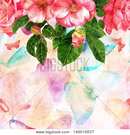 A watercolor drawing of a bouquet of tender pink roses and camellias, on the background texture in pastel tones with freehand butterflies and skeleton leaves