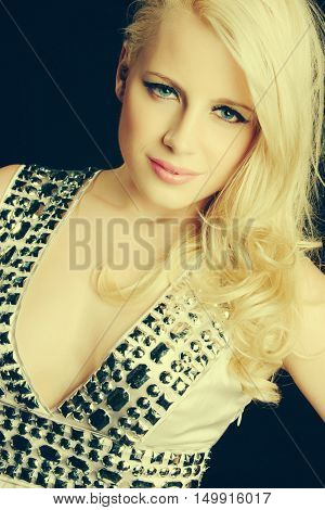 Pretty blond woman with blue eyes