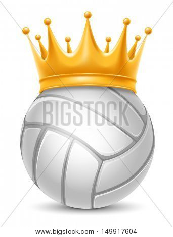 Volleyball Ball in Golden Royal Crown. Concept of success in volleyball sport. Volleyball - king of sport. Realistic Stock Vector Illustration. Isolated on White Background.