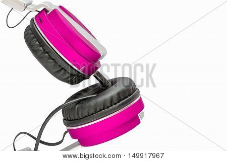 Pink headphones on white background. It's colorful.