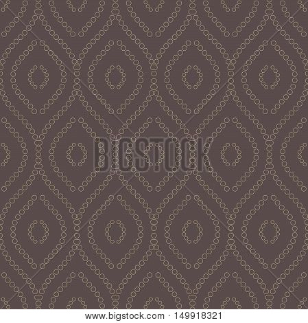 Seamless vector brown and golden ornament. Modern geometric pattern