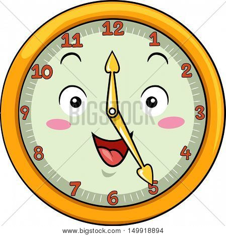 Mascot Illustration of a Smiling Clock with its Hands Pointing to the Numbers Twelve and Five