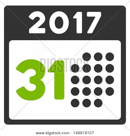 Last 2017 Month Day vector pictogram. Style is flat graphic symbol, eco green and gray colors, white background.