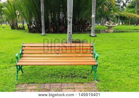 Metal Garden Chair On Green Grass