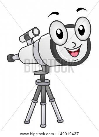 Mascot Illustration of a Long Range Telescope Mounted on a Tripod Smiling Happily