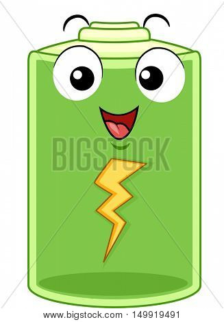 Mascot Illustration of a Happy Battery Pack Regaining its Energy After Being Recharged