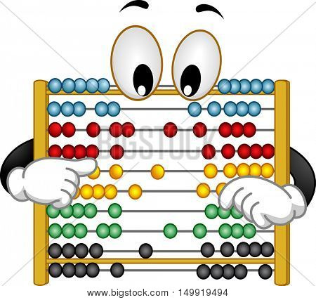 Illustration of a Curious Abacus Mascot with Googly Eyes Rearranging its Beads