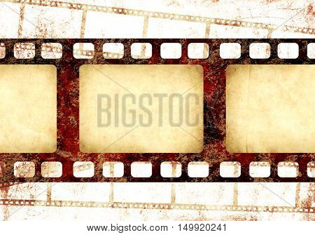 Grunge background with retro filmstrips and old paper texture