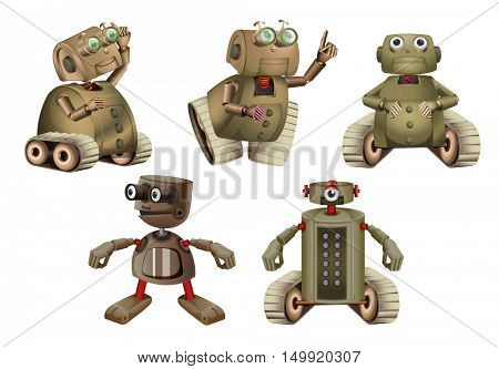 Robot in different actions illustration