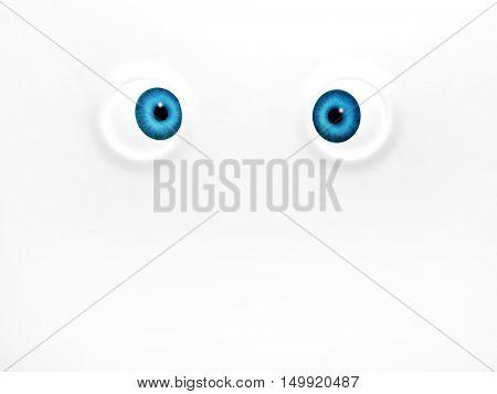 Funny blue eyes on white background. 3d render