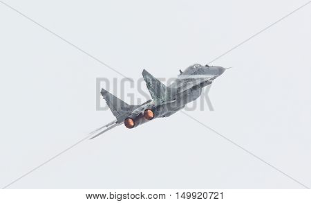 Leeuwarden, The Netherlands - June 11, 2016: Slovak Air Force Mig-29 Fulcrum During A Demonstration