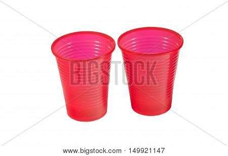 Red plastic cup isolated in a white background