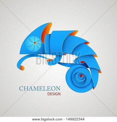 3D Origami Silhouette Of Chameleon. Paper Design
