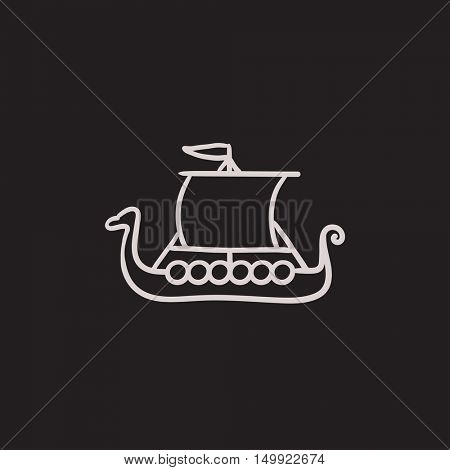 Old ship vector sketch icon isolated on background. Hand drawn Old ship icon. Old ship sketch icon for infographic, website or app.