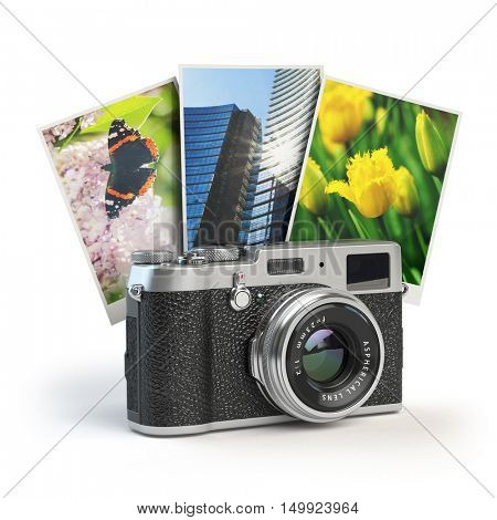 Photo camera and images isolated on white. 3d illustration
