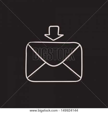 Incoming email vector sketch icon isolated on background. Hand drawn Incoming email icon. Incoming email sketch icon for infographic, website or app.