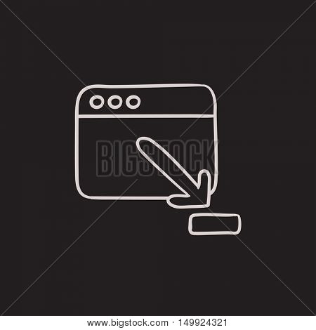 Browser window with download sign vector sketch icon isolated on background. Hand drawn Browser window with download sign icon. Browser window sketch icon for infographic, website or app.