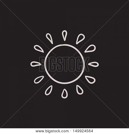 Sun vector sketch icon isolated on background. Hand drawn Sun icon. Sun sketch icon for infographic, website or app.