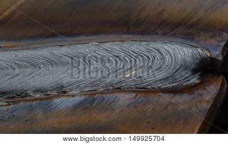 welding seam onto steel sheet metal Industrial steel welder in factory