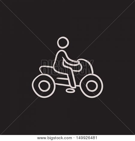 Man riding motorcycle vector sketch icon isolated on background. Hand drawn Man riding motorcycle icon. Man riding motorcycle sketch icon for infographic, website or app.