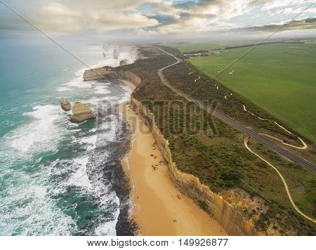 Aerial View Of The Twelve Apostles And Great Ocean Road
