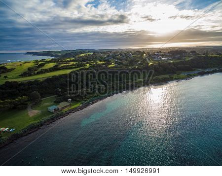 Aerial View Of Flinders Foreshore At Sunset, Melbourne, Australia.