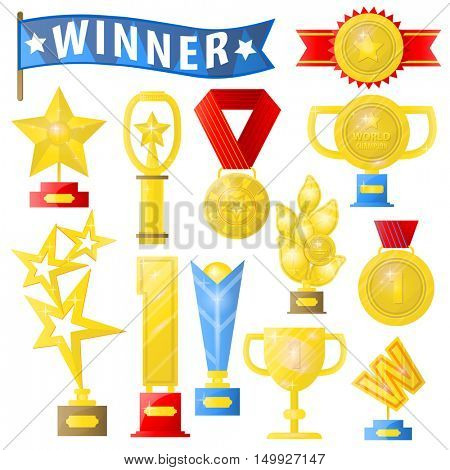 Set of trophies, medals, cup and trophy, icons and ribbons for winners in competitions. Icons in flat style. Isolated illustrations